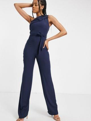 WOMEN Vesper Tall one-shoulder wide leg jumpsuit in navy