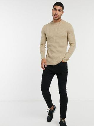 New Look muscle fit crew neck knitted sweater in stone