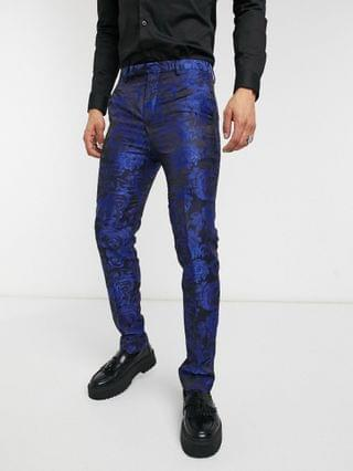 Twisted Tailor suit pants with jaquard floral print in navy