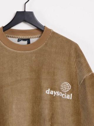 Daysocial oversized t-shirt in tan cord with logo