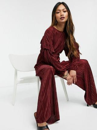 WOMEN ruffled open back long sleeve plisse tea jumpsuit in red