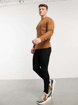 New Look cable knit sweater in tan