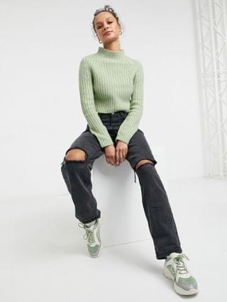 WOMEN Monki Celine ribbed sweater in sage green