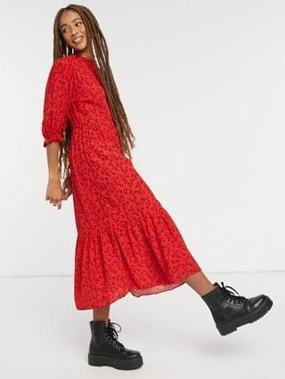 WOMEN New Look frill detail midi dress in red floral print