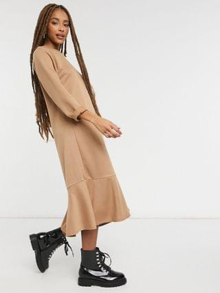 WOMEN New Look flute hem sweatshirt midi dress in camel