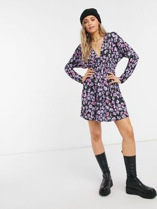 WOMEN padded shoulder long sleeve ruched waist mini dress in blue and purple floral print