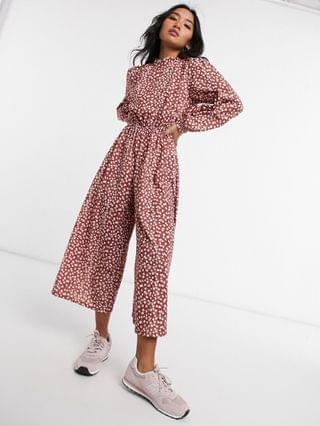 WOMEN petite high neck long sleeve jumpsuit in floral