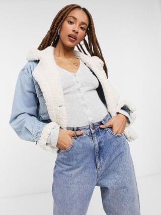 WOMEN We The Free Perry hooded denim jacket with teddy lining in mid wash
