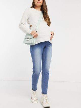 WOMEN Mamalicious Maternity sweatshirt with button sides and nursing function in light gray