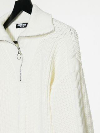 WOMEN Fashion Union sweater with half zip in cable knit