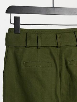 WOMEN Moon River belted pants in olive green
