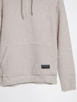 oversized hoodie in off-white teddy with funnel neck