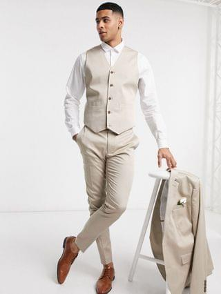 wedding super skinny cotton suit vest in stone