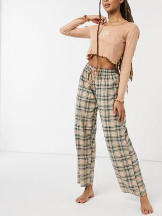 WOMEN Wednesday's Girl pajama set with rib long sleeve top & plaid bottoms
