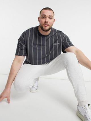 New Look Plus striped T-shirt with embroidered MCMXCI in dark gray