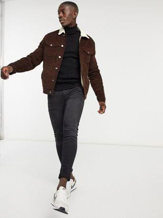 New Look trucker jacket with teddy collar in brown