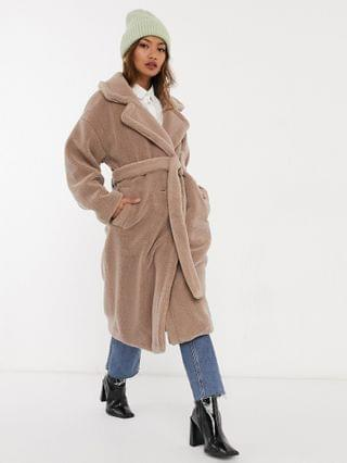 WOMEN Native Youth oversized belted coat in teddy