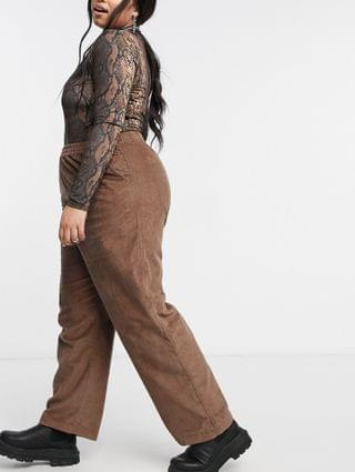 WOMEN COLLUSION Plus exclusive cord pants co-ord in mocha