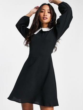 WOMEN New Look Petite collared dress in black