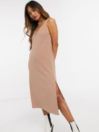 WOMEN Fashion Union midi slip dress in rib