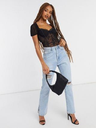 WOMEN In The Style x Shaughna lace detail puff sleeve bodysuit in black