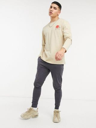 Jack & Jones Originals oversize long sleeve top with tiger back print in beige Exclusive at