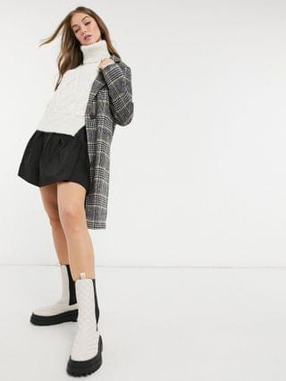 WOMEN New Look tailored midi coat in black check