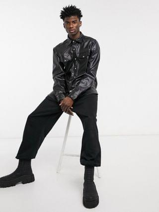 Reclaimed Vintage Inspired leather-look shirt in black