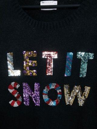 WOMEN Curve Charity Christmas sweater sequin let it snow for Foundation