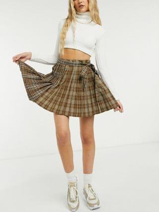 WOMEN COLLUSION mixed check pleated mini skirt