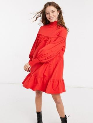 WOMEN high neck shirred cuff mini smock dress in red