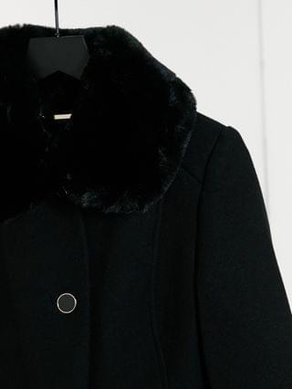 WOMEN Ever New long coat with faux fur collar in black