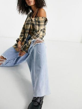 WOMEN Missguided Tall 90's wide leg dad jeans with ripped knees in blue
