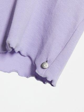 WOMEN Pull&Bear notch front long sleeve top in lilac