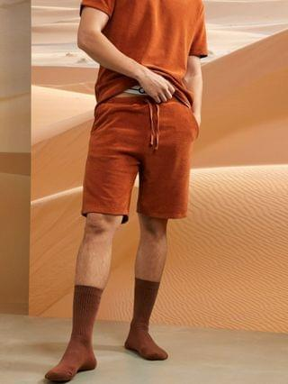 MEN lounge terry T-shirt and shorts pajama set in rust