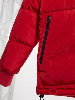 Bershka padded puffer jacket with hood in red
