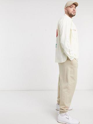 Plus twill natural base overshirt with tiger back placement print