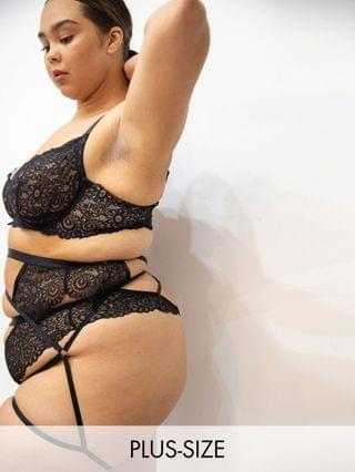 WOMEN We Are We Wear Curve high waist cut out thong in black