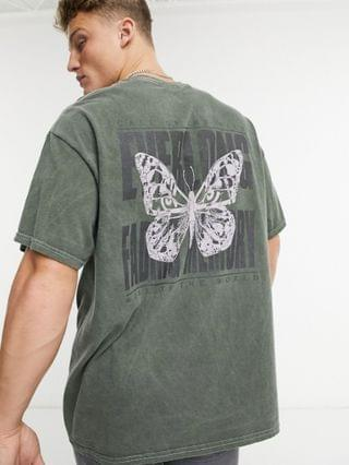 MEN New Look oversized t-shirt with back print in dark gray