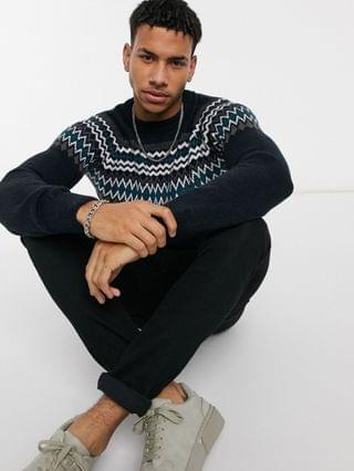 New Look knitted sweater with yoke pattern in navy
