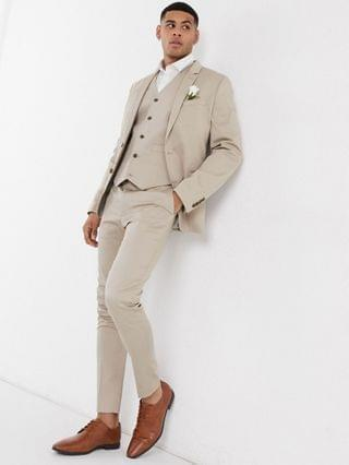 wedding cotton super skinny suit jacket in stone