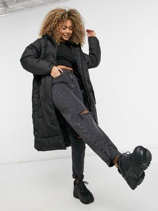 WOMEN Weekday Ally recycled long padded coat in black