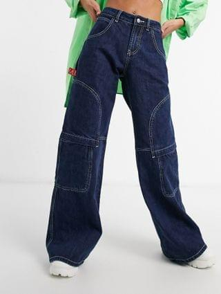 WOMEN Jaded London super oversized skater jeans with stitch detail