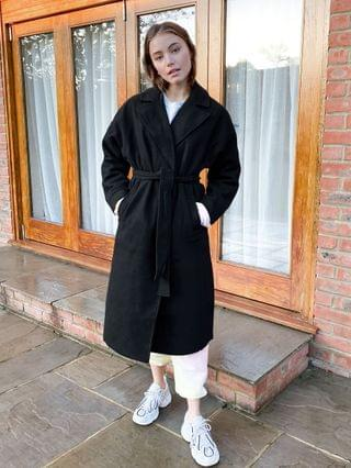 WOMEN New Look drop shoulder belted maxi coat in black