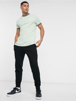 t-shirt with contrast tipping in pastel green