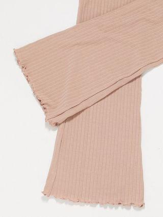 WOMEN Miss Selfridge ribbed flared pant in camel