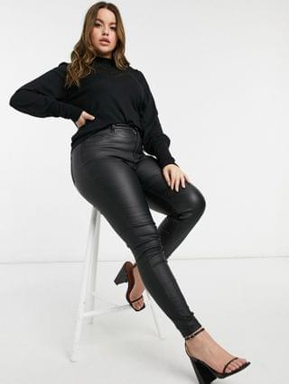 WOMEN Ever New Curve lace yolk balloon sleeve sweater in black