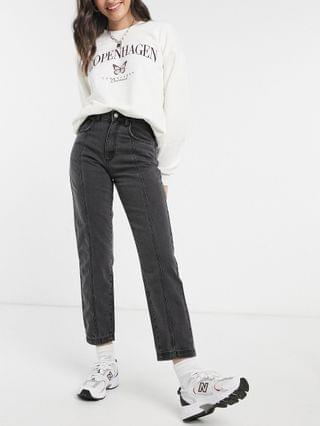 WOMEN Reclaimed Vintage Inspired The '88 clean straight jeans with seam detail in washed black