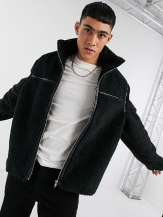 oversized sherpa jacket with tape detail in black