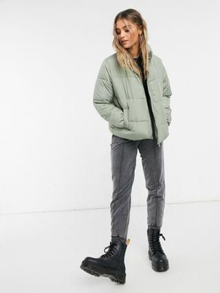 WOMEN New Look boxy puffer jacket in sage green